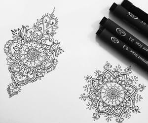 black, drawing, and mandala image