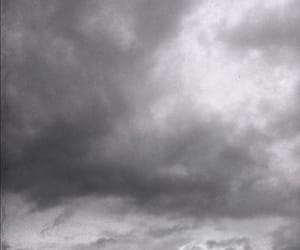 black and white, clouds, and dark image