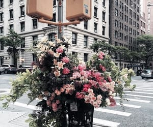 flowers, bouquet, and street image