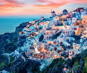 santorini, Greece, and sunset image
