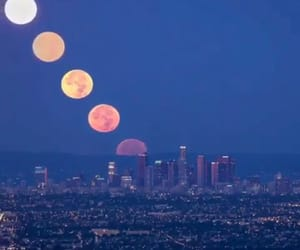 city, moon, and travel image