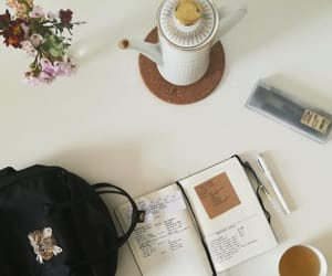 coffee shop, college, and desk image