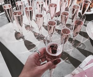 drinks, rose gold, and champagne image
