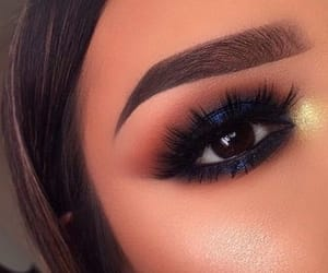 brown eyes, make up, and blue shadow image