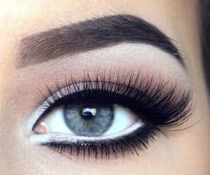 lashes, make up, and grey eyes image