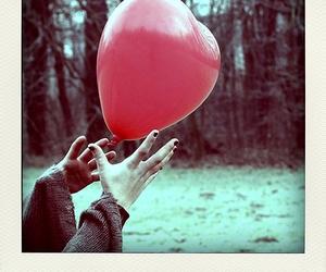 balloon, heart, and polaroid image