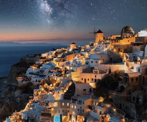 Greece, stars, and santorini image