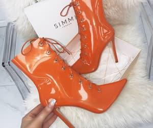 orange, orange shoes, and orange heels image