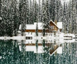 house, lake, and landscape image