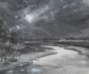 art, drawing, and lake image