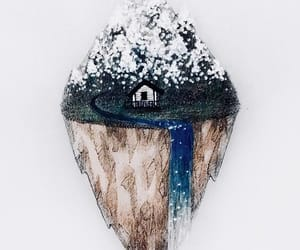 artist, house, and mountains image