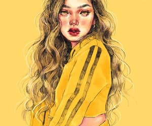 art, yellow, and girl image