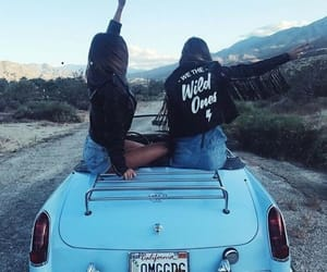 friends, girl, and car image