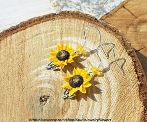 etsy, dangle earrings, and yellow jewelry image