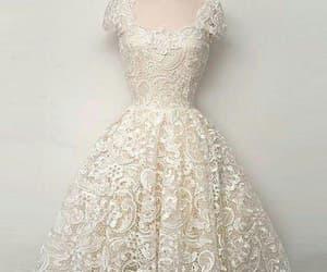 lace, lace dress, and white dress image