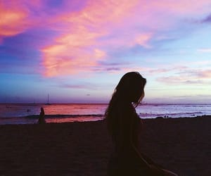 girl, beach, and sky image