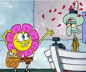 spongebob, flowers, and funny image