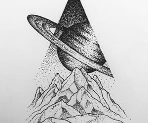 black and white, drawing, and galaxy image