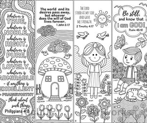 bible, bookmarks, and coloring image