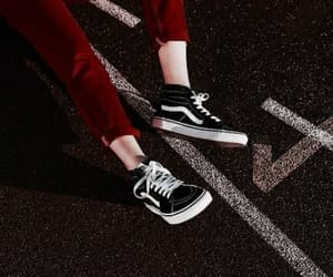 red, aesthetic, and vans image