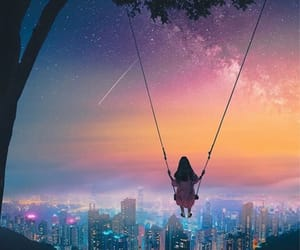 city lights, dreamy, and swing image