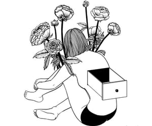 black, desenho, and flowers image