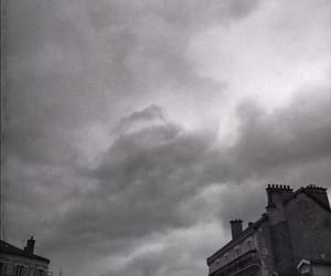 black and white, clouds, and grey image