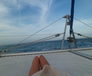 boat, girl, and legs image