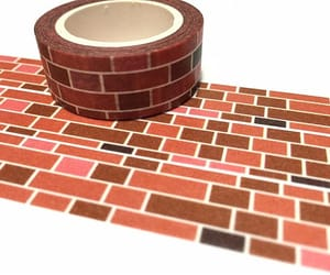 brick, wall decals, and doll house image