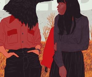 crow, illustration, and girl image