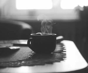 coffee, black and white, and cup image