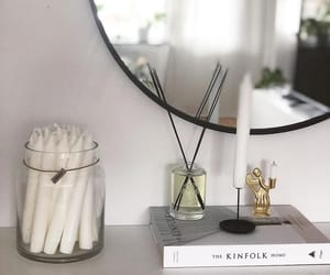 candle, mirror, and decor image