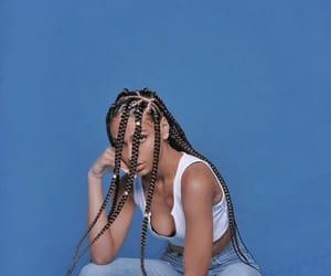 black girl, blue background, and braids image