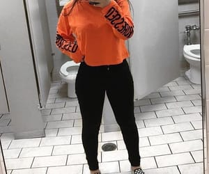 orange, black, and fashion image