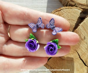 etsy, polymer clay jewelry, and purple roses image