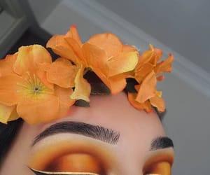 makeup, orange, and eyeliner image