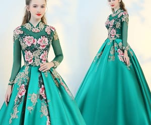 girl, green dress, and prom dress image