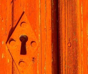doors, keyhole, and orange image
