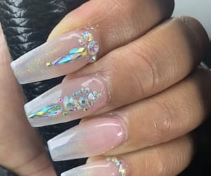 nails, clear nails, and square nails image