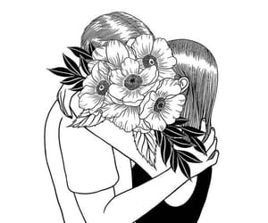 love, black and white, and art image