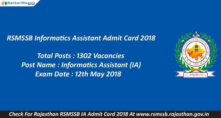 article and rsmssb ia admit card image