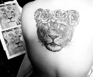 black and white, lion, and tattoo image