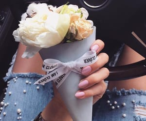 flowers, nails, and jeans image