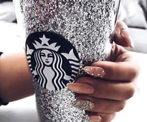 nails, glitter, and starbucks image