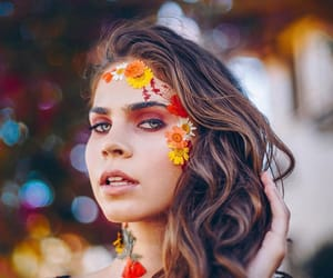 beauty, brunette, and flowers image