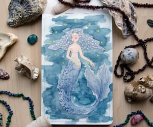 drawing, mermaid, and paint image