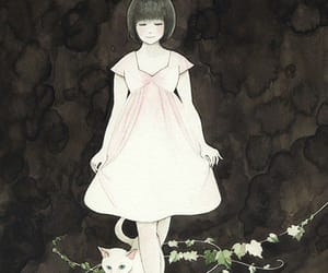 anime, lady, and cat image