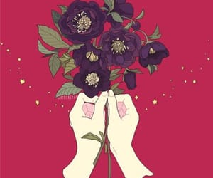 hand, anime, and flower image