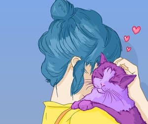 love, cat, and art image