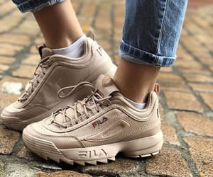beige, Fila, and shoes image